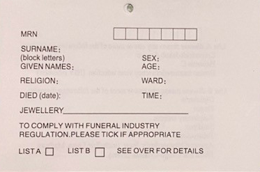 Records of Death: A Nurses parcel to me.
